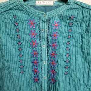 Turquoise cotton Johnny Was embroidered blouse